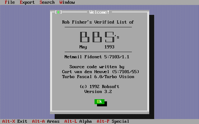 Welcome Screen for Roblist May 1993