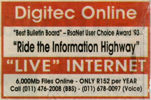 Digitec Online Newspaper Advert