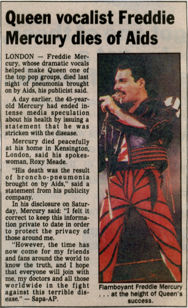 Newspaper article 25-11-1991