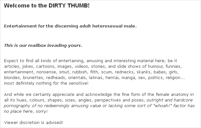 """""""The Dirty Thumb"""" intro text"""