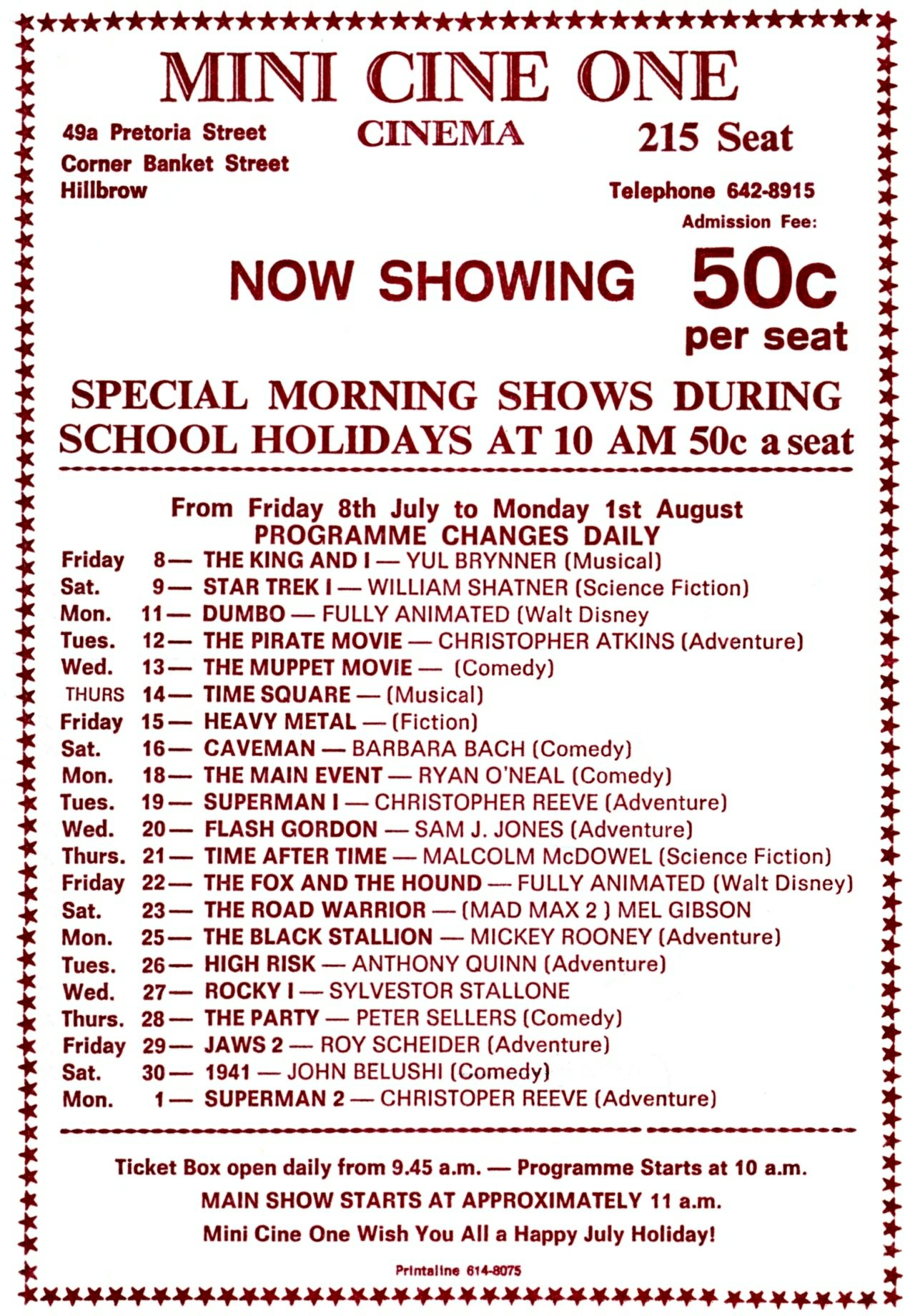 Mini Cine One special morning shows